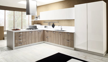 Elegant kitchen cabinet brown white with island lagos abuja phc nigeria  jessej.index