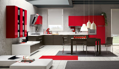 Kitchen cabinet red with island lagos abuja phc nigeria  ikdairo.index