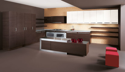 Modern kitchen cabinet brown with island lagos abuja phc nigeria design   bankyw.index