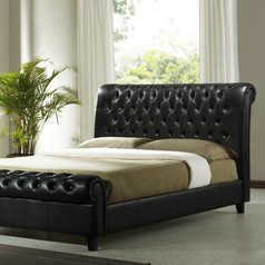 Black leather panel bed.index