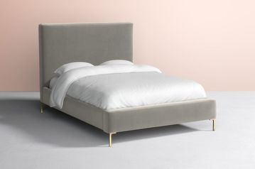 Grey velvet upholstered bed  abuja lagos portharcourt nigeria lane7.index