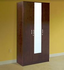 buy Brown Wood 3 door Wardrobe
