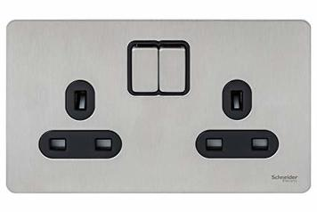 buy SCHNEIDER ULTIMATE 13A DOUBLE SOCKET - STAINLESS